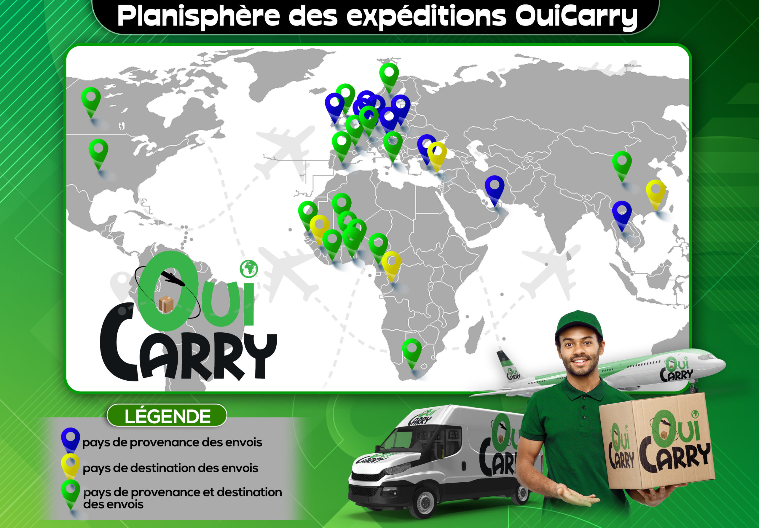 Planisphère des expéditions Ouicarry